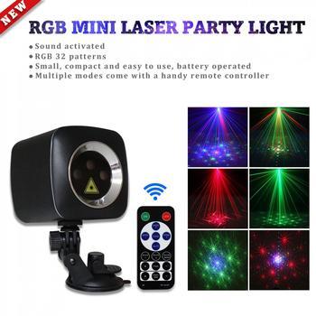 Mini RG P32 Red Green Blue LED Light Effect Handheld Projector Laser Lamp Remote Control USB Charging for Disco DJ Club Bar KTV