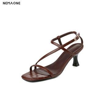 2020 Metal Buckle Sandals High Heels Pumps Night Club Elegant Ladies Shoes Genuine Leather Newest Fashion Shoes Woman