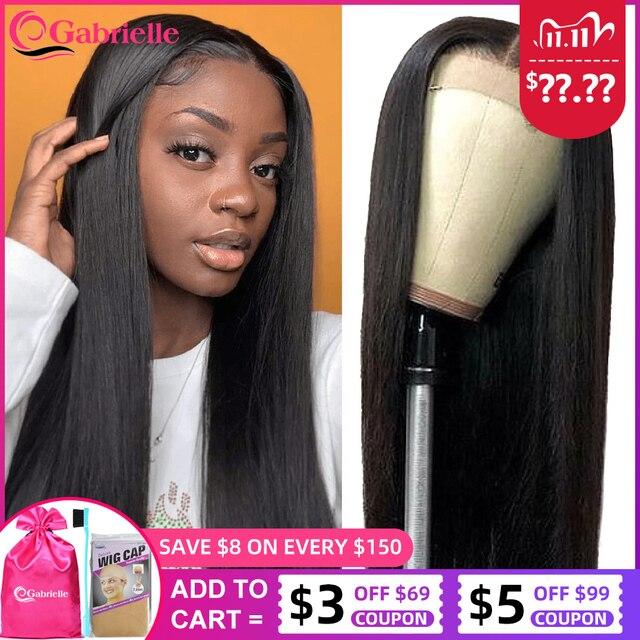 Gerade Spitze Vorne Menschenhaar Perücken für Frauen Brasilianische Remy Haar 4x4 5x5 6x6 spitze Schließung Perücke Preplucked 150 Dichte Gabrielle
