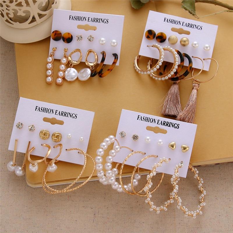 Bohemian Tassel Acrylic Earrings For Women Fashion Geometric Heart Earrings Set Imitation Pearl Earrings Boho DIY Jewelry