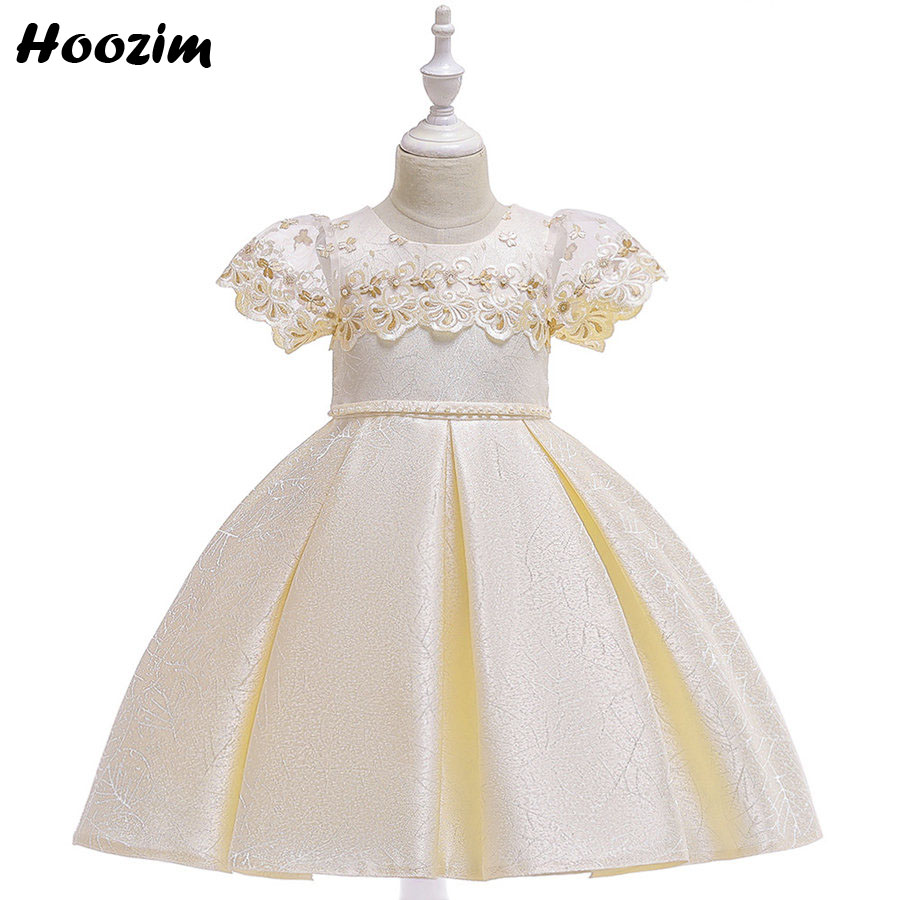 Luxury Palace Short Sleeve Embroidery Evening And Wedding Dresses Girls 4-10 Year Lurex Flower Pearl Belt Pageant Dress Children
