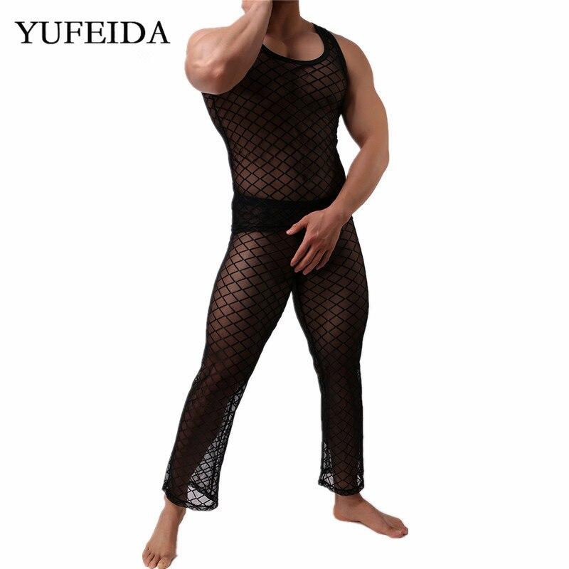 YUFEIDA Sexy Men Long Johns Vest Tops Fishnet Transparent Sleepwear Nightwear Mesh Underwear Sets Long Trousers Pants Fitness