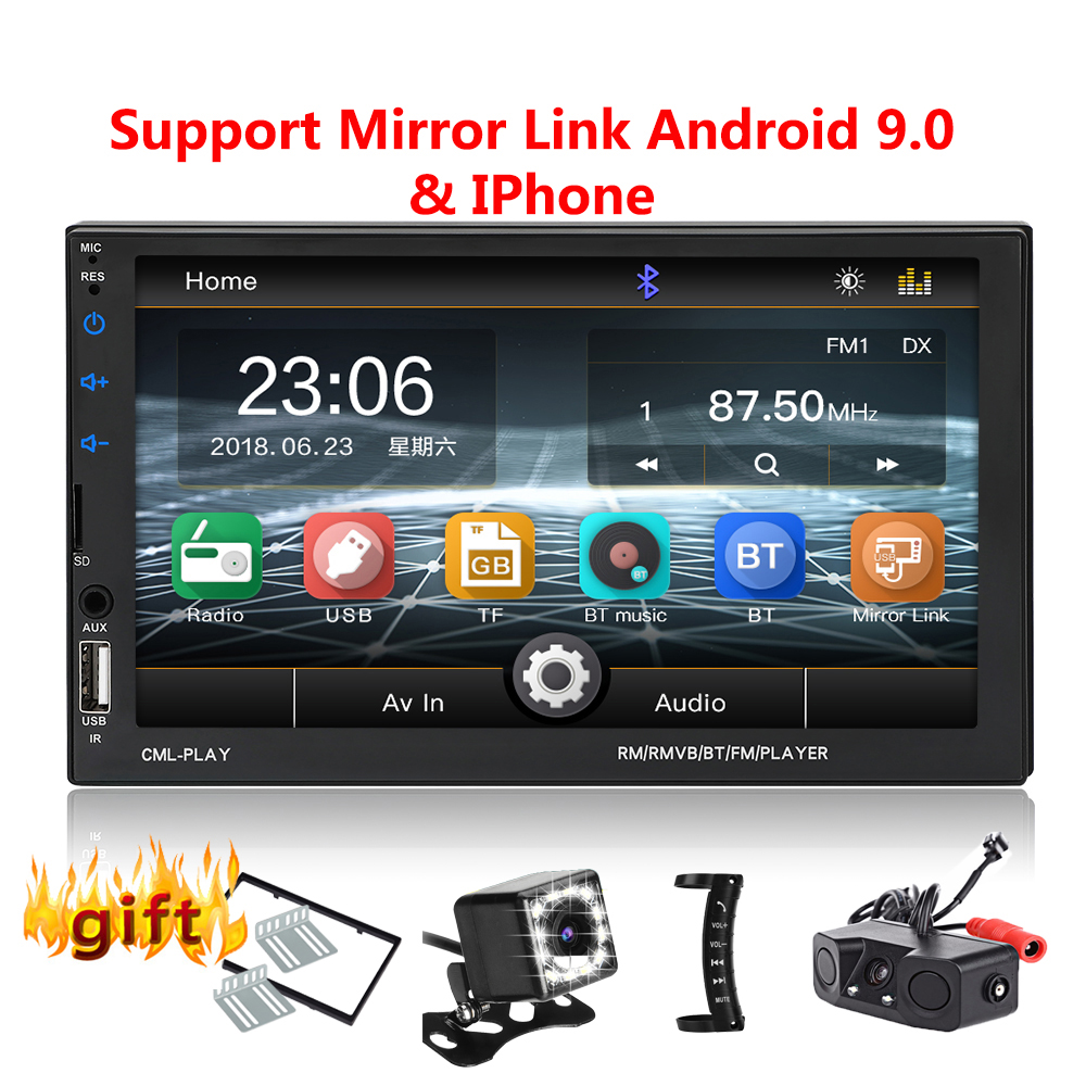 2 Din Car Radio Bluetooth Mirrorlink 2din Car Autoradio 7'' MP5 Player Car Backup Monitor Car Audio For Rearview Camera Remote