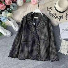 autumn Plaid Women Jacket Coat Tassel Suit Collar Double Breasted Korean Plus Size Office Vintage Black Elegant Women Jacket цена