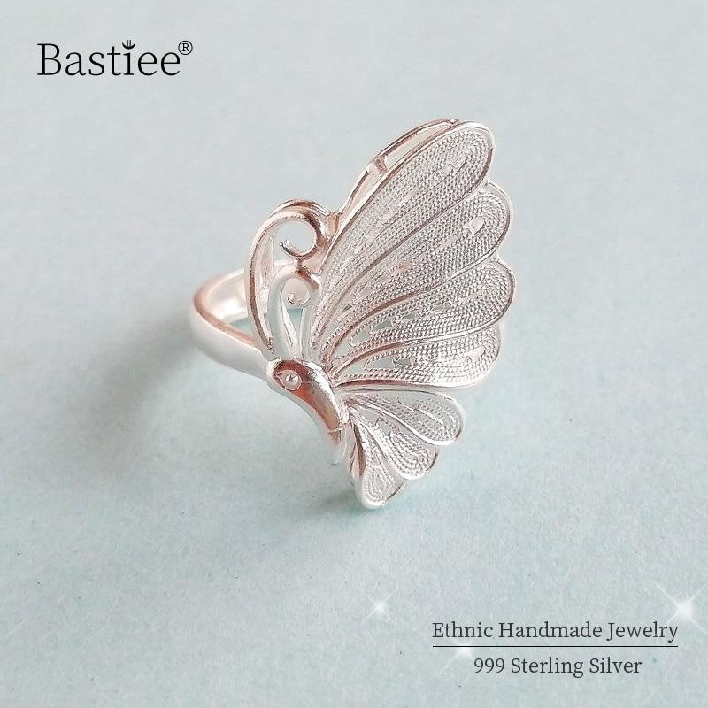 Borboleta 999 prata esterlina anéis para mulher grande boho anel de noivado ajustável artesanal jóias de luxo do vintage miao prata
