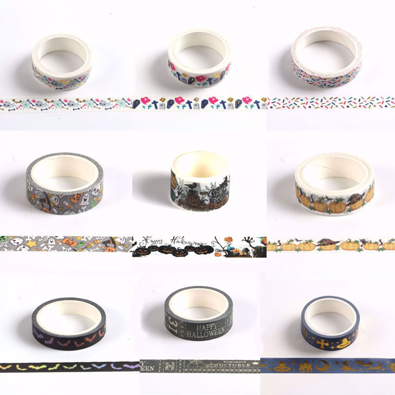 Halloween Decoration Tape Halloween Ghost Cross Decorative Tape DIY Scrapbook Stationery Tape Vintage Masking Paper Washi Tape