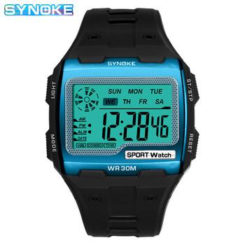 SYNOKE złoty cyfrowy zegarek duży ekran męskie zegarki 39 S fajny Alarm elektroniczny odporny na wstrząsy silny zegarek sportowy tanie i dobre opinie Z tworzywa sztucznego 25 5cm 3Bar Klamra Rectangle 37 2mmmmmmmm 14 9mmmmmmmm Akrylowe Stoper Repeater Auto data Chronograph