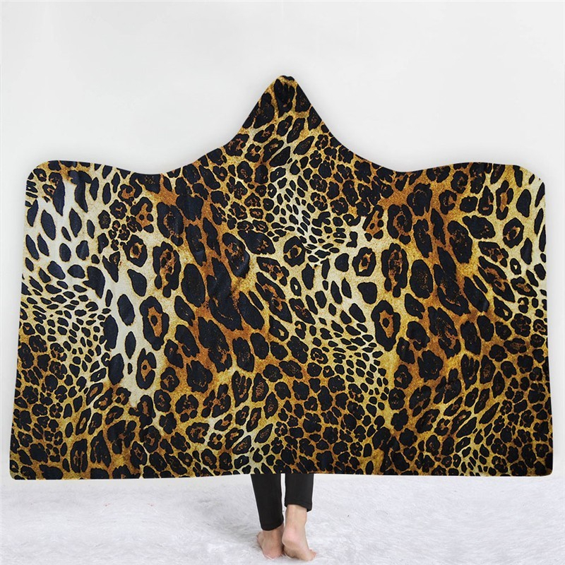 3D Print Colorful Tiger Hooded Blanket Winter Warm Soft Fluffy Throw Nap Cloak