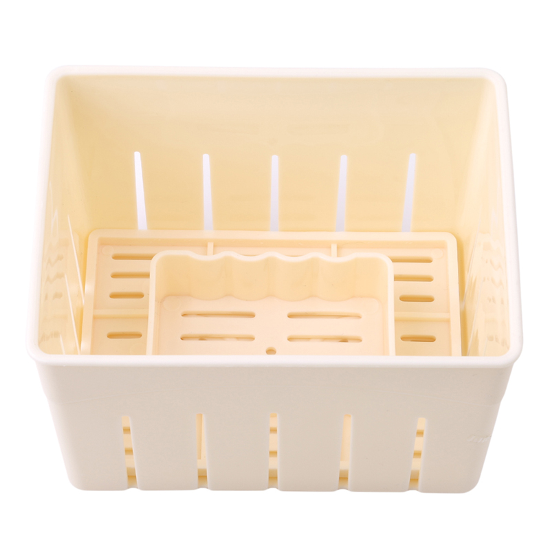 DIY <font><b>Plastic</b></font> Tofu Press <font><b>Mould</b></font> Homemade Tofu Mold Mold With <font><b>Cheese</b></font> Cloth Kitchen Cooking Tool Set Soybean Curd Tofu Making image