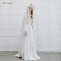 Lakshmigown Bohemian Wedding Dress Boho Style 2019 Robe de Mariee Sexy Backless Beach Wedding Dresses Lace Appliqued Long Sleeve