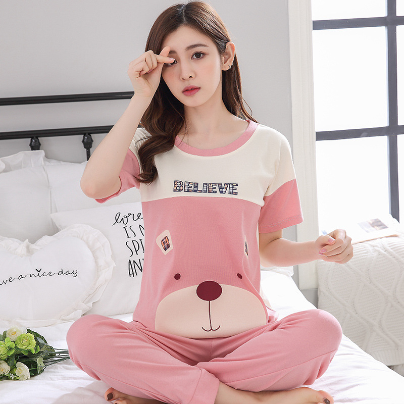 Womens Pajamas Sets 100% Cotton Short-sleeve Shirts And Pants Animal Print 2018 Pajama Set Sleepwear Women Sexy Summer Homewear