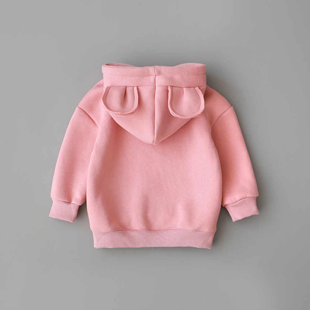 겨울 유아 아기 키즈 소년 소녀 후드 러블리 후드 만화 3D 귀 셔츠 탑스 의류 roupa infantil Pollover moletom