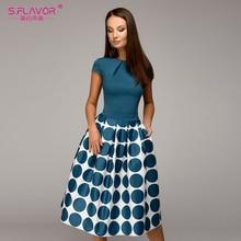 S.FLAVOR Vintage women wave point dress Elegant short sleeve patchwork A line Working dress Casual women Summer Midi vestidos