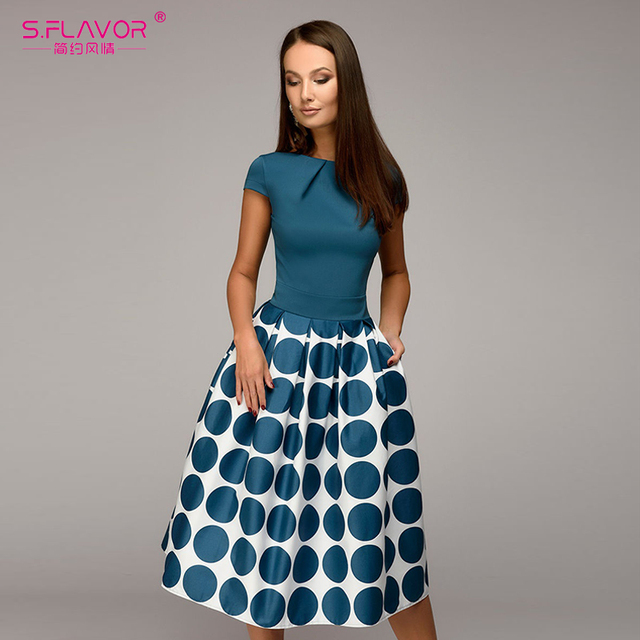 S.フレーバーヴィンテージ女性波のポイントのドレスエレガントな半袖パッチワークaライン作業ドレスカジュアル女性夏ミディvestidos