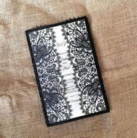 50pcs Black Pearl Paper Wedding Invitation Card Hollow Out Carved Glitter Paper Card for Wedding Party
