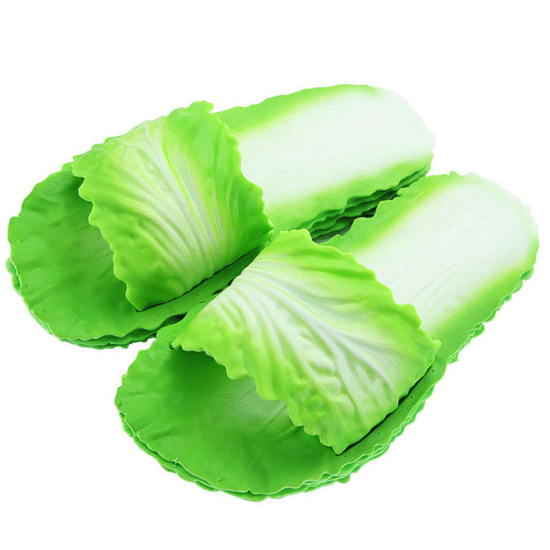 New Cabbage Slippers Fashion Creative Cabbage Net Red Slippers Women Summer Simple Funny PVC Fip Fops Soft Bottom Tide