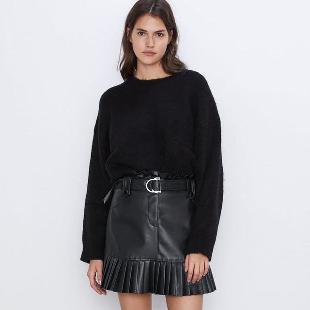 Black Fashion Faux Leather Elegant Tie Belt Waist Mini Skirts 5