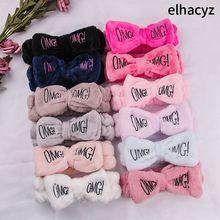 11 adet/grup kelebek yay kafa bandı moda OMG mektuplar yıkama yüz Hairband kızlar şapkalar Hairbands mercan polar saç aksesuarları