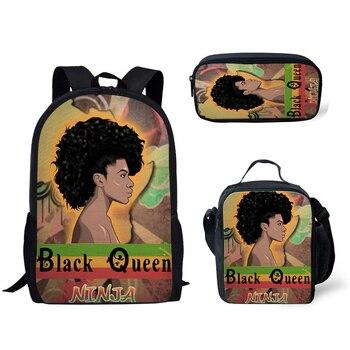NOISYDESIGNS Mochila Escolar for Kids Black Queen African Girls Print School Bags Children 3pcs/set Schoolbag Teenager Book Bag 2016 new cute 3d panda print schoolbag teenager nylon fabric backpack girls book bags for women mochila packbag kids van owl