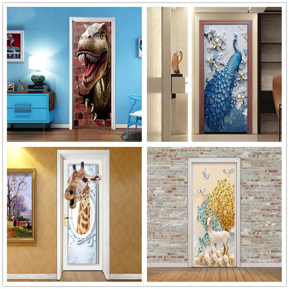 Custom Size/77x200cm Ferocious Dinosaur 3D Door Sticker PVC Self-adhesive Wallpaper DIY Waterproof Mural Decals For Kid Bedroom