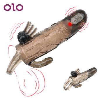 OLO przedłużacz penisa wielokrotnego użytku opóźniony wytrysk zabawki erotyczne dla dorosłych Man Cock powiększenie podwójny wibrator nakładka na penisa prezerwatywy dla mężczyzn tanie i dobre opinie TPE+ABS 22686