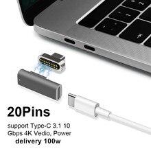 Adaptador USB C tipo magnético, soporte PD cargador y transmisión de datos (10Gbp/s), USB 3,1 tipo c Power Delivery carga rápida PD100W