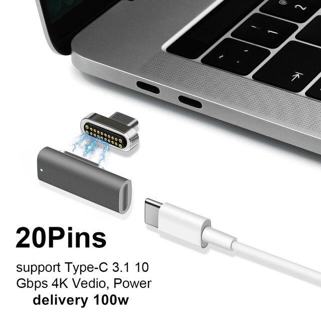 Adaptateur de USB C de Type magnétique, chargeur PD de soutien et transmission de données (10Gbp/s), Charge rapide PD100W de livraison de puissance USB3.1 type c