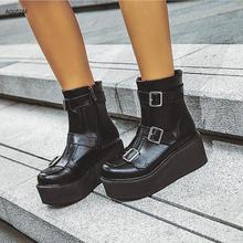 soerben black pu ankle boots plus size boots women high thin heels pointed toe zipper zapatos mujer bottine femme real boot winter Women snow Boots Round Toe Slip On casual Wedge women shoes High Heels women Rome Ankle Boots Plus size 35-43 mujer z274