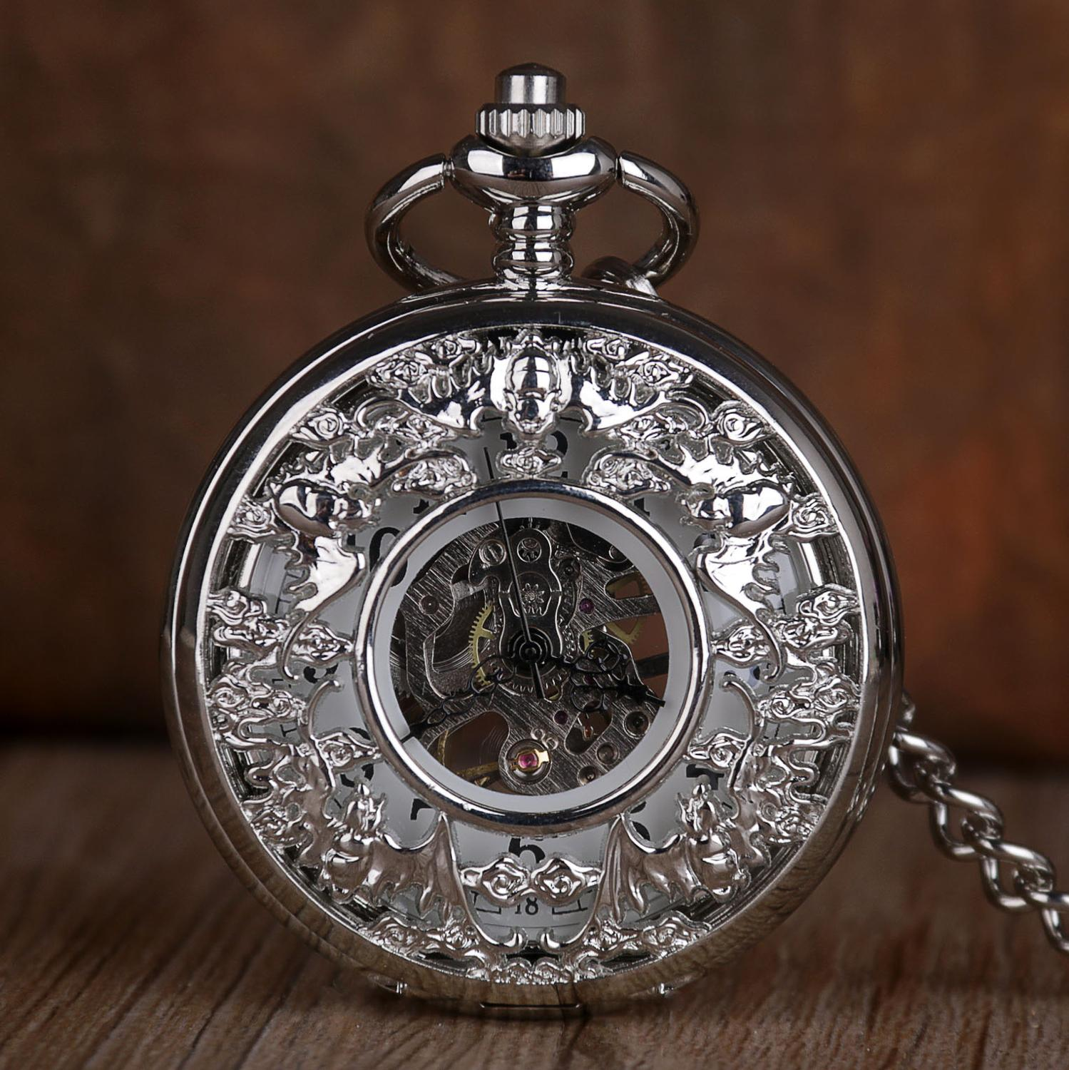 Retro Hollow Mechanical Pocket Watch With FOB Chain Pocket Watch Skeleton Steampunk Vintage Hand Winding Watches For Mens Womens