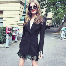 2020 New Summer Women Slim Trench Coats Black Deep V-Neck Double Breasted Coats  Sleeve Tassel Fashion Club Blazer Feminino