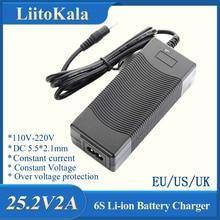 Liitokala 6 s 25.2 v 2A 24 v バッテリーパック電源リチウムリチウムイオン batterites 充電器 ac 100 240 240v 変換アダプタ