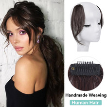 SHANGKE femmes vrais cheveux humains partie moyenne frange côté frange cheveux naturels frange avant cheveux pièce pince dans les Extensions