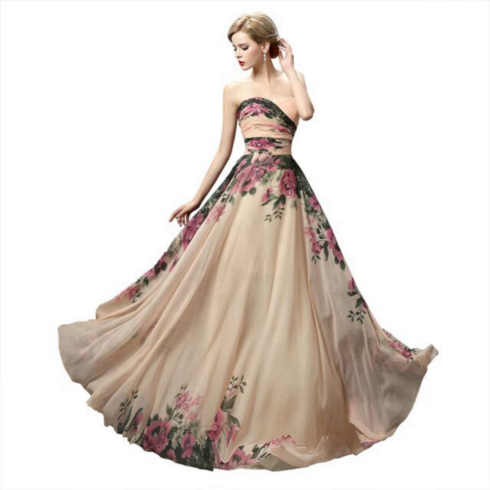 Fleur motif Floral imprimé en mousseline de soie robe de bal longue robes de soirée 2019 a-ligne dos nu robe