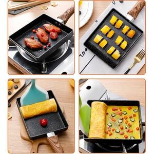 Image 2 - 15*18 Frying Non Stick Pan Tamagoyaki Japanese Medical Stone Aluminum Alloy Pan Maker Fry Egg Pan Pancake Pot Pink Cookware