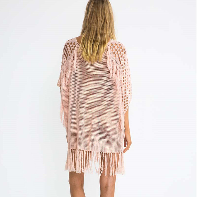 Hot Selling European And American-Style Knitted Tassled Porous Chest Bandage Cloth Beach Skirt Bikini Outer Blouse