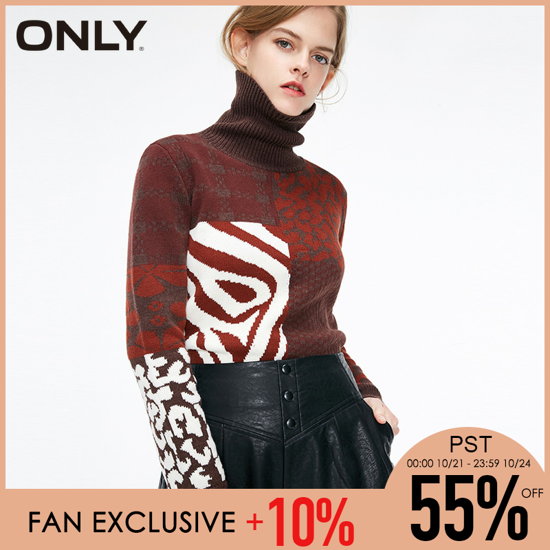 ONLY Retro Loose High-necked Stitching Color  Winter Women Sweater | 119113527