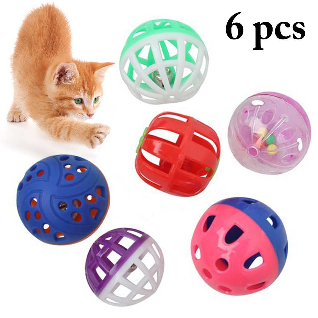 Balacoo 3pcs Plastic Bell Balls Hollow Bell Toy Balls Funny Pet Cat Playing Teaser Random Color