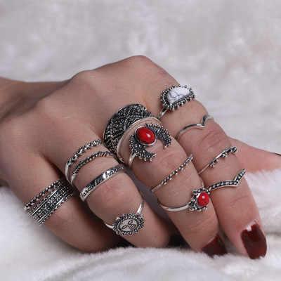 13 סוגים אופנה בציר טבעת סט Femme אבן כסף Midi אצבע טבעות נשים תכשיטי Knuckle טבעת חתונת טבעות סט תכשיטים מתנה