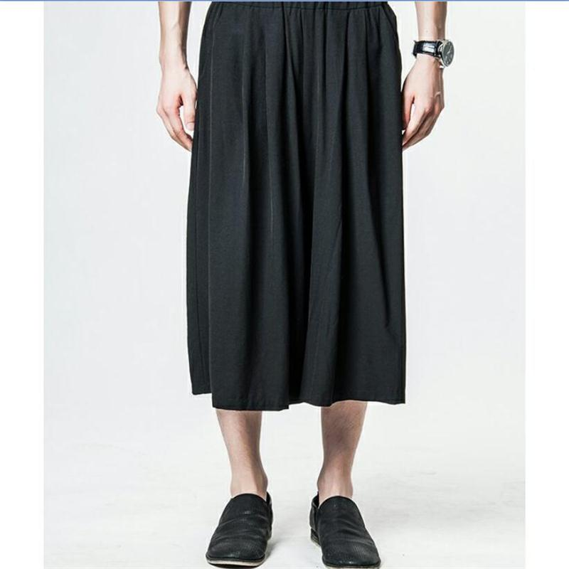 Spring And Summer New Korean Version Of The Tide Men's Wide-leg Pants Seven Points Casual Men's Pants Skirt Pants Hairdresser Ha