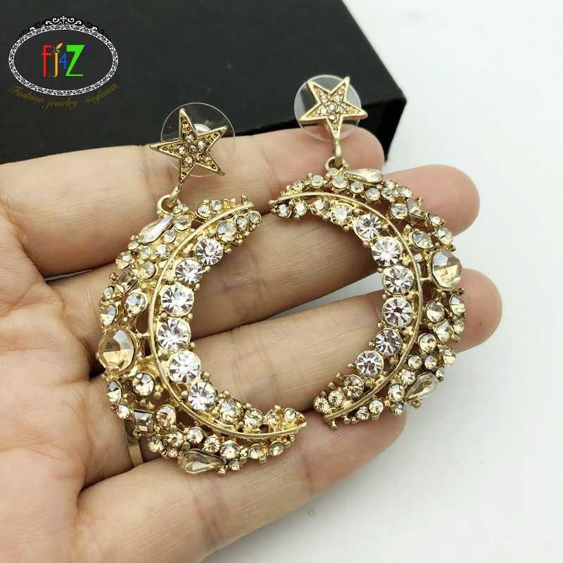 F.J4Z New Women Earrings Fashion Luxurious Crystal Moony Stars Pendant Earrings Party Earrings Jewelry Bijoux Wholesale