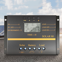 80A PWM Solar Panel Controller Battery Charge Regulator 12V/24V Auto With USB