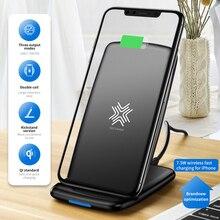 Rock w3 pro 무선 충전기 홀더, iphone 11 x max xs xr 용 냉각 팬 포함 samsung s10 s9 s8 plus s7 참고 9 스탠드 7.5 w/10 w