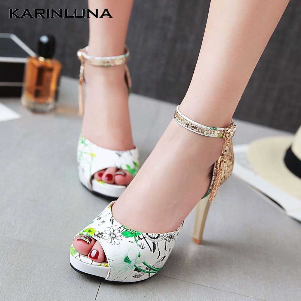 KarinLuna 2020 New Arrivals Plus Size 47 Floral Women Shoes Paltform Thin Heel Metal Decoration Pump Summer Casual Woman Sandals