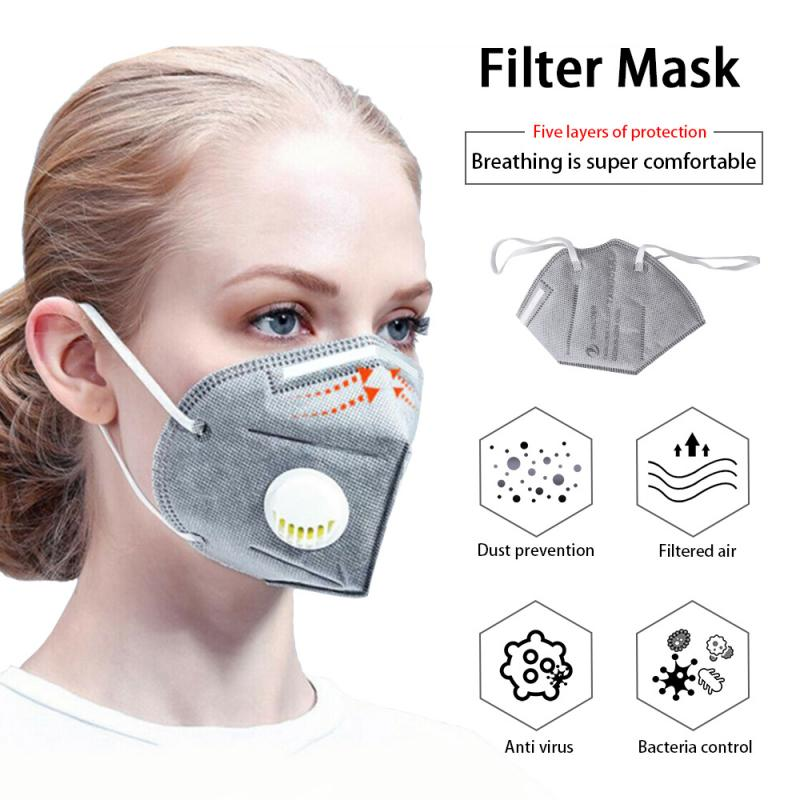 Anti Pollution PM2.5 Mouth Mask KN95 Mask Dust Respirator Masks Cotton Unisex N95 Mask Mouth Mask W/Exhalation Valve