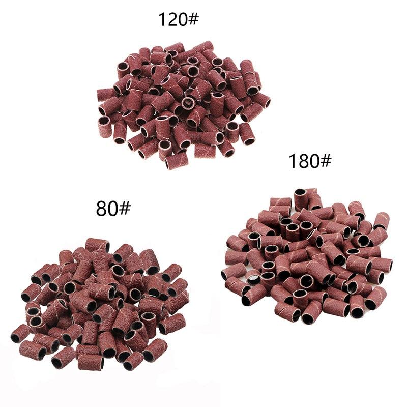 80# 120# 180# Nail Art Sanding Bands For UV Gel Acrylic Polish Remover For Electric Nail Machine Nail Drill Bits Nail Accessory