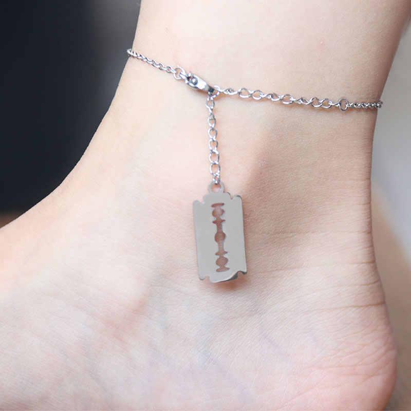 1 Pc golarka ostrze ze stali nierdzewnej na zamówienie łańcuszek na kostkę kobiet bransoletki Anklets stóp bransoletka moda kobiety plaża biżuteria akcesoria