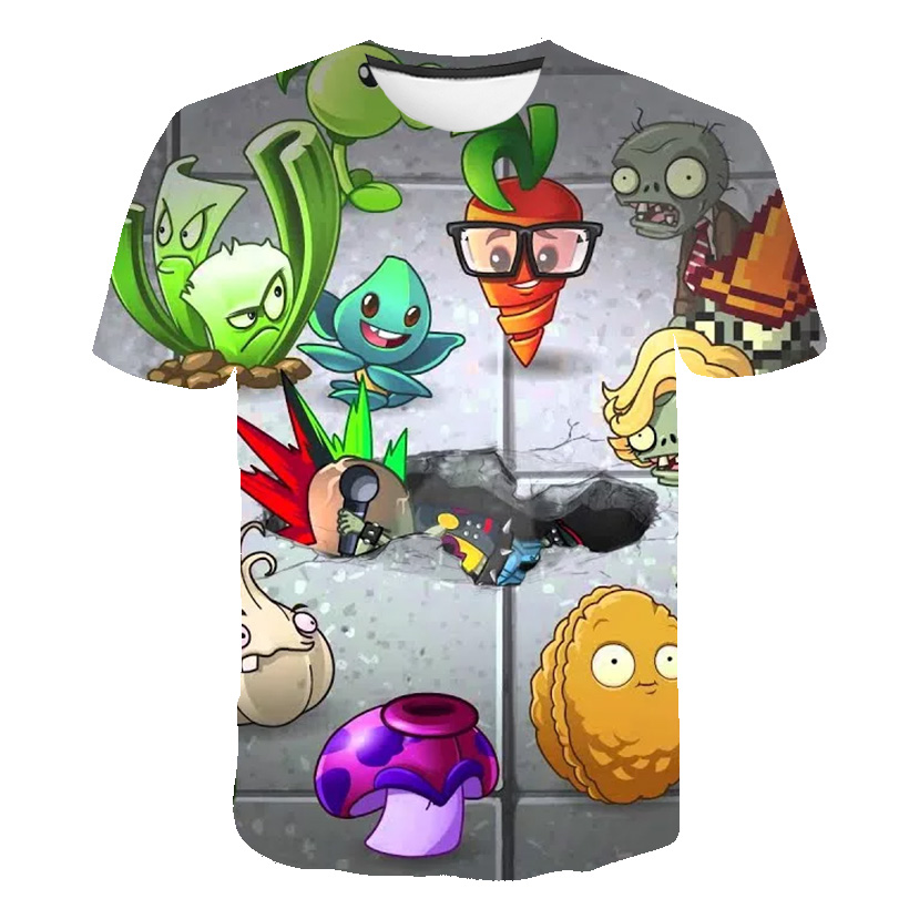 Plants Vs Zombies 3D Printed Short Sleeve T-Shirt For Boys And Girls Jackets Children Clothing T-Shirts Summer Clothing T-Shirts