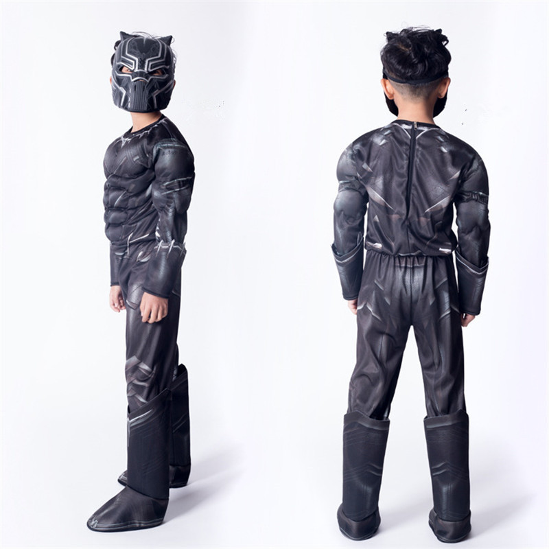 Children Black Panther Cosplay Costume Civil War Captain  Christmas Role Playing Super Hero Halloween Party Dress Up Dres