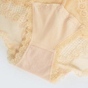 Image 3 - 섹시한 레이스 팬티 여성 속옷 중반 허리 플러스 크기 탄성 숙녀 팬티 투명 메쉬 여성 편안한 란제리