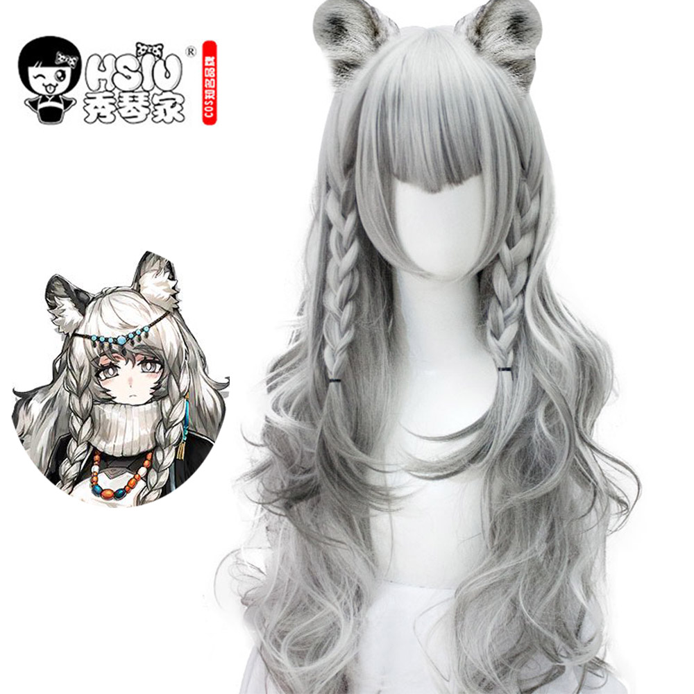 HSIU Game Arknights Pramanix Cosplay Wig Silver White Hair Girls Wig Party Halloween Dress Up  Fiber Syntheitc Wig
